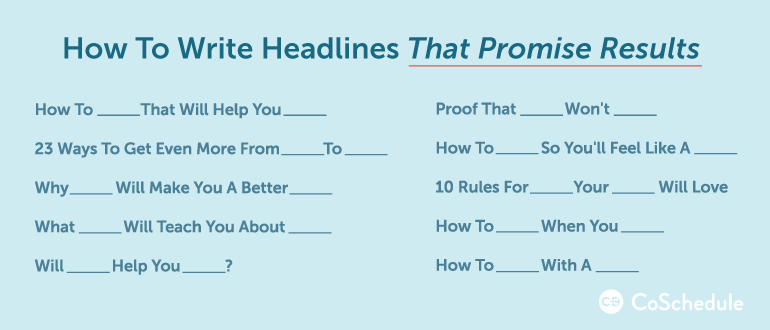 write a headline that promises results
